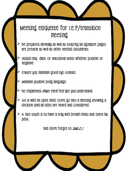 Reminder checklist for IEP and other SPED meetings