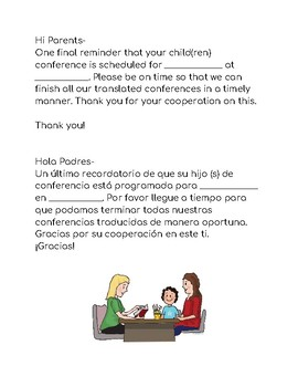 Reminder for a translated Spanish Parent Conference