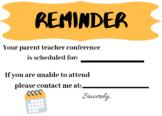 Reminder parent teacher confernce