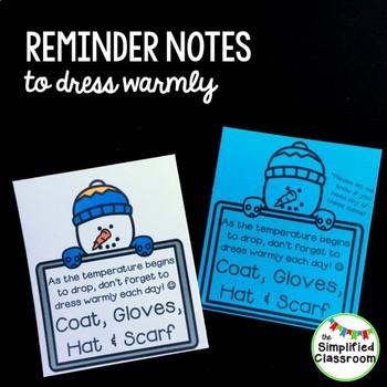 Reminder Notes to Dress Warmly {FREEBIE!}