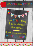"Super Cute ""Write your name"" Reminder for classroom display - 8x10"