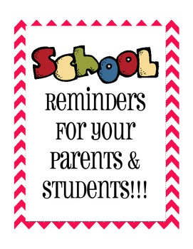 Reminders for Parents and Students