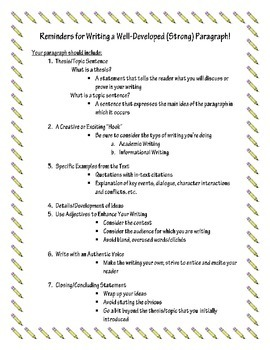 Reminders for Writing a Well-Developed Paragraph