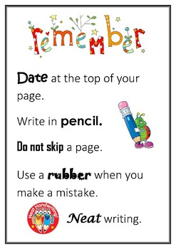 Reminders for kids when writing in books