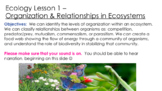 Remote Ecology Lesson 1: Organization & Relationships in E