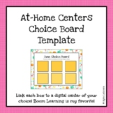 Remote Learning Centers Choice Board Template