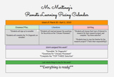 Remote Learning Pacing Calendar for Teachers K-12!