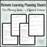 Remote Learning Planning Sheets