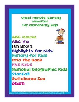 Remote Learning  Websites  for Elementary Kids  ✅Great for remote learning ✅