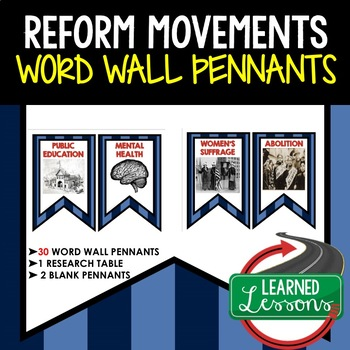 Reform Movements Word Wall Pennants (American History)