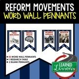 Reform Movements Word Wall Pennants, American History Word Wall