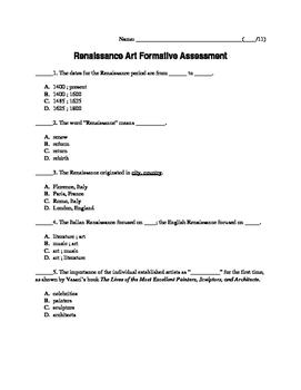 Renaissance Art Formative Assessment