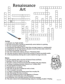 Renaissance Art History Crossword Puzzle By Artsycat Tpt