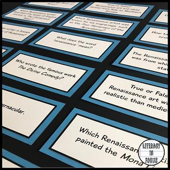 Renaissance Task Cards & Assessment (Shakespeare, Titian, Da Vinci & More!)