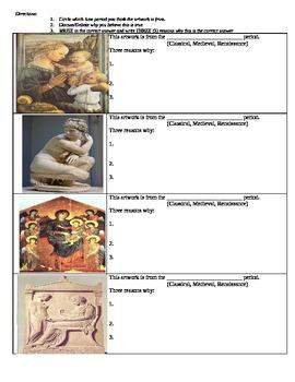 Renaissance Art Powerpoint- Classical vs. Middle Ages vs. Ren. Art WORKSHEETS