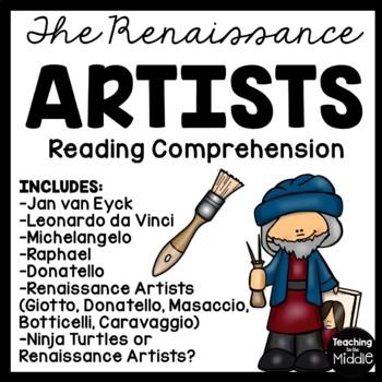 Renaissance Artists Bundle- 6 Reading Comprehension Worksheets, Leonardo, etc.