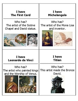 Renaissance Artists--I have, Who has?