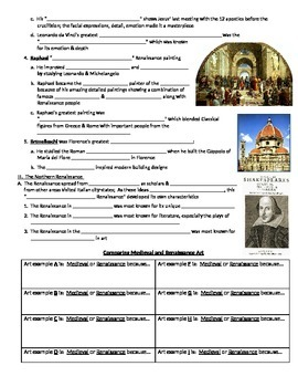 Renaissance Artists Notes Page for use with PowerPoint