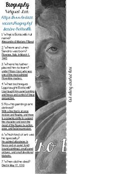 Renaissance Artists: Sandro Botticelli Webquest Flipbook