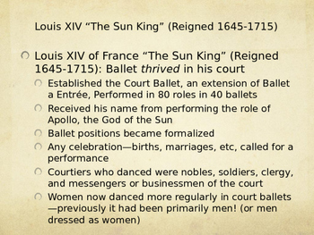 Renaissance Ballet History