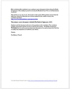 Renaissance: Battle of Agincourt Primary Source Worksheet