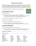 Renaissance Biography Project worksheet