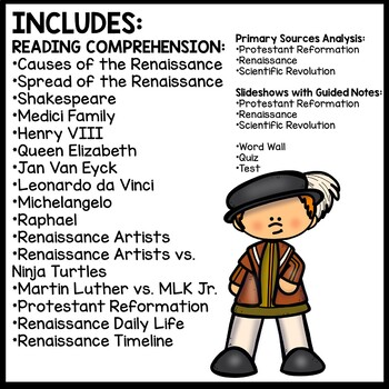 Renaissance Bundle- PowerPoint, Guided Notes, Reading Comprehension, DBQ
