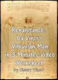 Renaissance: Da Vinci's Vitruvian Man in 3 Minutes Video Worksheet