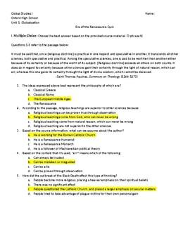 Renaissance Era Quiz / Test (CCSS Alligned)