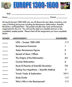 Renaissance Europe Student Packet & PowerPoints - Renaissance, Reformation, etc.