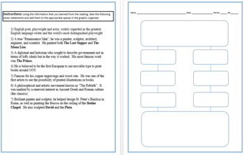 Renaissance Graphic Organizer Note Activity