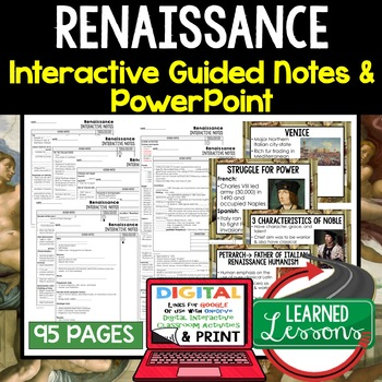 Renaissance Guided Notes and PowerPoints, Interactive Notebooks, Google