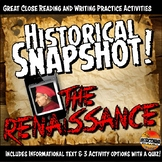 Renaissance Historical Snapshot Close Reading Investigation and Quiz