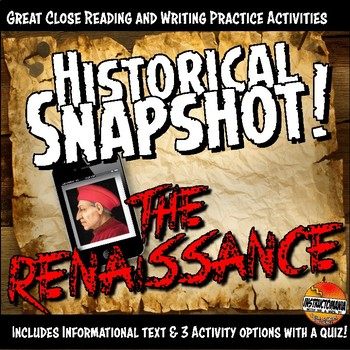 Renaissance Historical Snapshot Close Reading Investigation