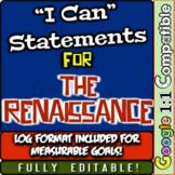"Renaissance ""I Can"" Statements & Learning Goals! Log & Measure Renaissance Goals"