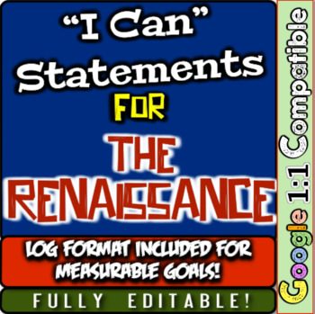 "Renaissance ""I Can"" Statements & Learning Goals! Log & Measure Renaissance Goals"