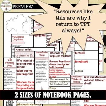 Renaissance Interactive Notebook Pages Graphic Organizers for Renaissance