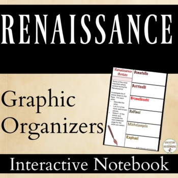 Renaissance Interactive Notebook Pages Graphic Organizers