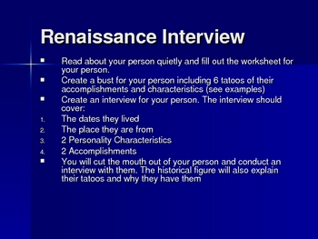 Renaissance Interview Bust with Tatoos Instructions Powerpoint