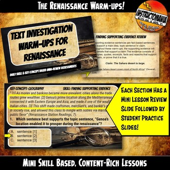 Renaissance Investigation Warm-Ups Skill Based, World History Mini Lessons