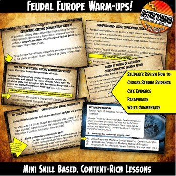 Feudal or Medieval Europe Investigation Warm-Ups Skill Based, Content Rich