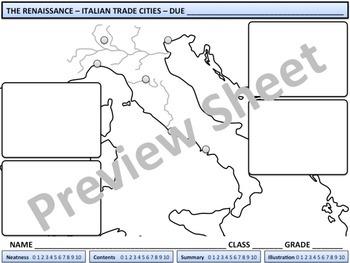 Renaissance - Italian Trade Cities Map Homework