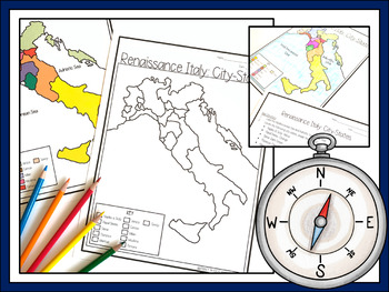 Pdf Map Of Italy.Renaissance Italy City States Map Lesson And Assessment Digital And Pdf