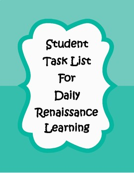 Renaissance Learning Task Checklist & Recording Sheet for Accelerated Math 2.0