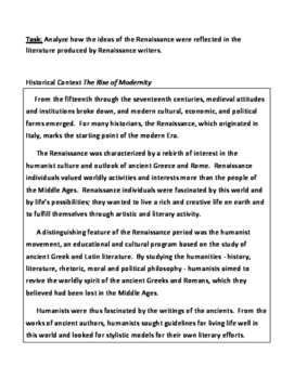 Renaissance Literature DBQ