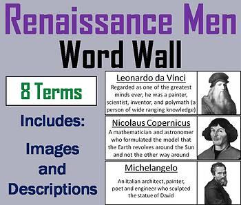 Renaissance Men Word Wall Cards