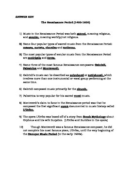 Renaissance Music Period Composers Worksheet: Gabrieli, Palestrina, Monteverdi