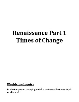 Renaissance Part 1 - Times of Change - Student Workbook