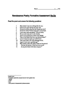 Renaissance Poetry Formative Assessment