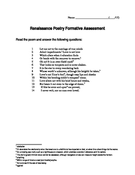 Renaissance Poetry Formative Assessment